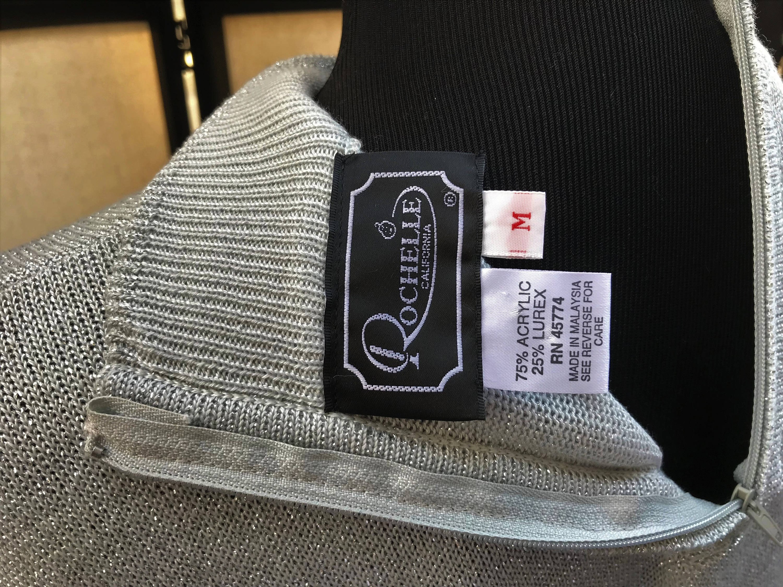 Shimmer for the Holidays Rochelle California Vintage Knit Top Silver Metallic Mock Turtleneck Back Zipper
