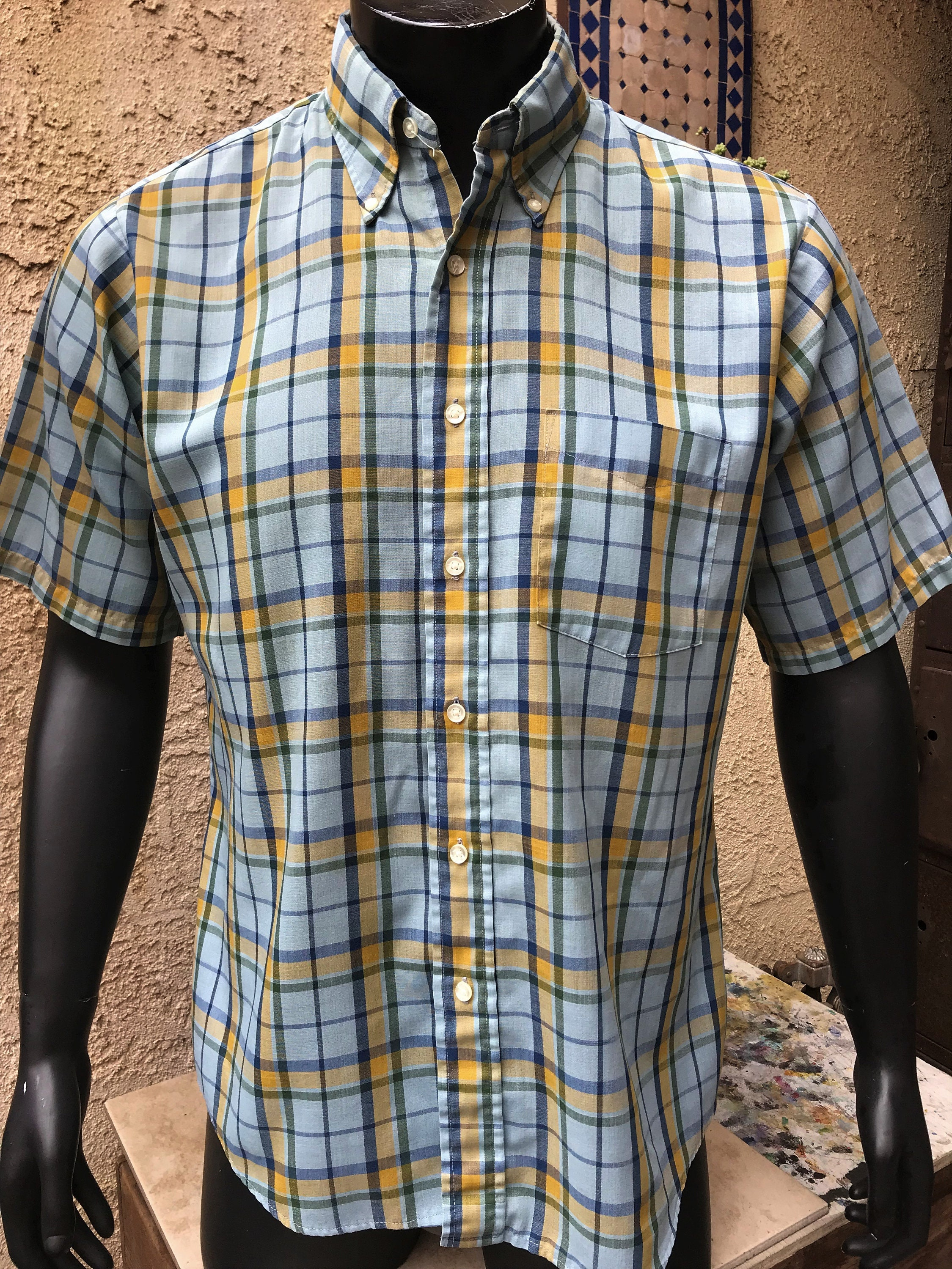 48ac7fe6e Towncraft Tapered by J.C. Penney Men's Button Front Casual Shirt, Vintage  Penney's Yellow & Green Plaid Summer Shirt, Made in the USA