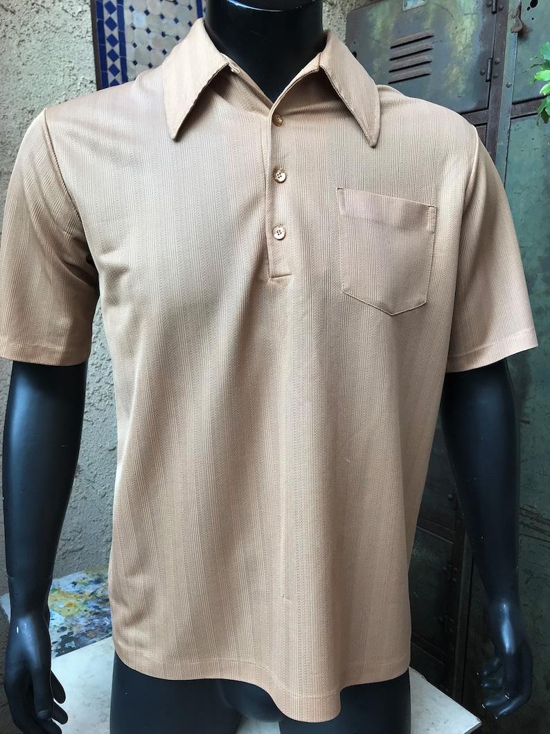 Vintage 70s Jantzen Mens Pullover Jantzen Men/'s Polo Size Large Beige Polo Shirt short sleeve shirt size Large Made in the U.S.A.
