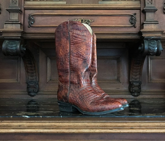 Reptile Textured Leather Unisex Western Boot Size