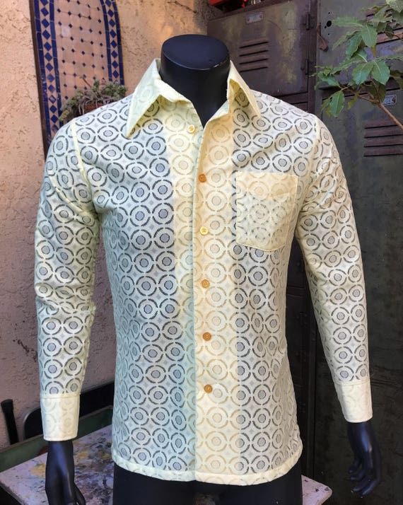 CareerClub ~ chemise statut Casuals hommes pure jaune, Long à manches longues taille M 15-15 1/2, Made in USA
