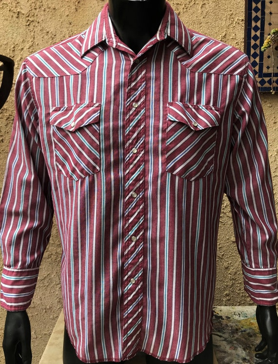 Chemise Wrangler homme Perle en pression, Bordeaux rayé, blanc & bleu Western, Rockabilly bouton jusqu'à Cowboy coupe taille Large, manches longues queues de X-Long