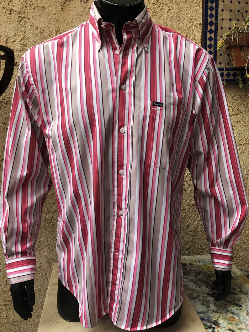 50d18f70 Faconnable Men's Pink & Gray Vertical Striped Long Sleeve | Etsy