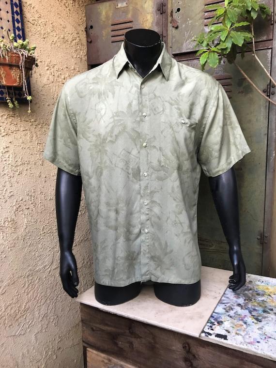 7c5ee3889 PIERRE CARDIN Men's Vintage Pale Green Hawaiian Shirt | Etsy