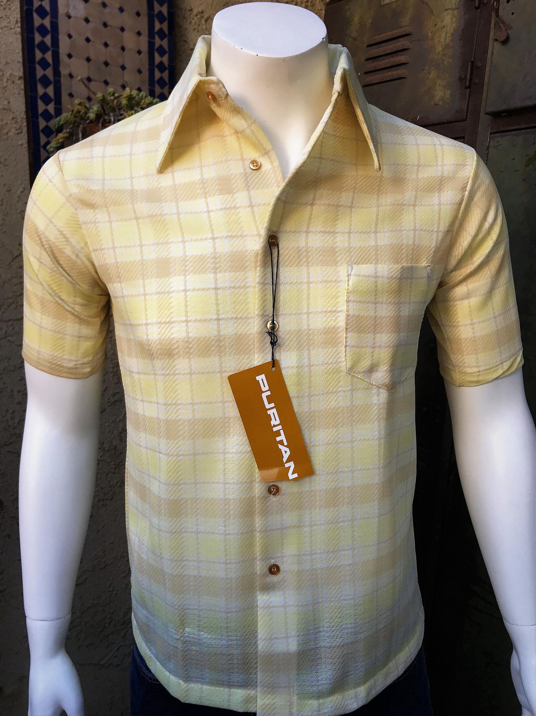 70s Puritan Mens Vintage Knit Shirt Disco Mod Textured Etsy