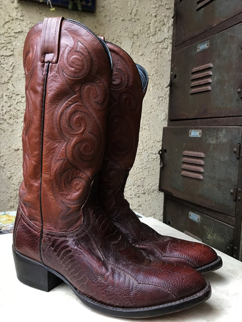 5c008dc4f44 DAN POST Ostrich Leg Mens Leather Boots 8.5 D, Cognac Brown Western Men's  Boot #6636