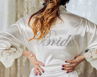 38dec59e6f White Lace Robe Bride robe Bridal shower Personalized bride robe ivory robe  wedding robe silk robe bridesmaid robe