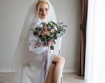 eed2b419f Bianco lungo pizzo abito sposa veste nuziale doccia personalizzati sposa  robe robe avorio da sposa seta abito abito damigella d onore