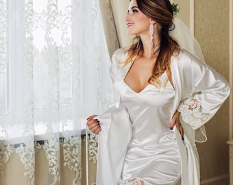 bc3293f20b Bridal Set Lace Nightgown and Robe Wedding Night Lingerie White Bridal  Shower Set Peignoir Kimono Bridal Lingerie Wedding Night Lace Robe