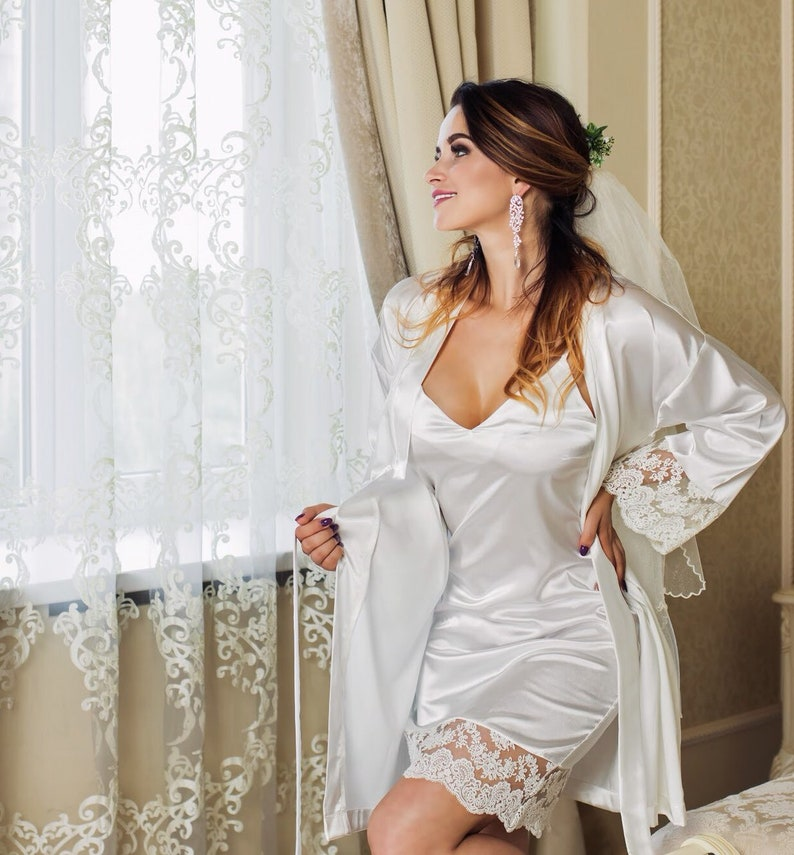 Bridal Set Lace Nightgown and Robe Wedding Night Lingerie White Bridal  Shower Se... Bridal Set Lace Nightgown and Robe Wedding Night Lingerie  White Bridal ... 6b4f31c1d