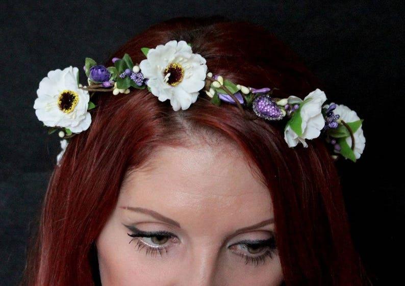 White ivory purple bridal Boho wedding wreath flower crown flower halo baby wreath newborn headband headpiece roses rustic woodland wedding
