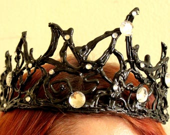 Black swan crown tiara new year party costume headpiece headband masquerade fancy cosplay ballet han gift bachelorette party bridal shower