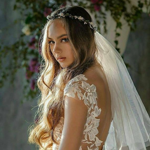 Flower Crown Ivory Boho Bride Flower Girl Halo Bridal Headband Wedding Hairpiece Floral Garland Bridesmaids Gift Hen Party Shower Veil Tiara