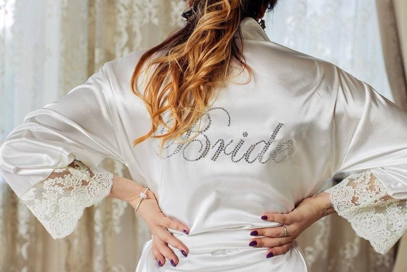 White Lace Robe Bride robe Bridal shower Personalized bride robe ivory robe  wedding robe silk robe bridesmaid robe 0bc33cd06