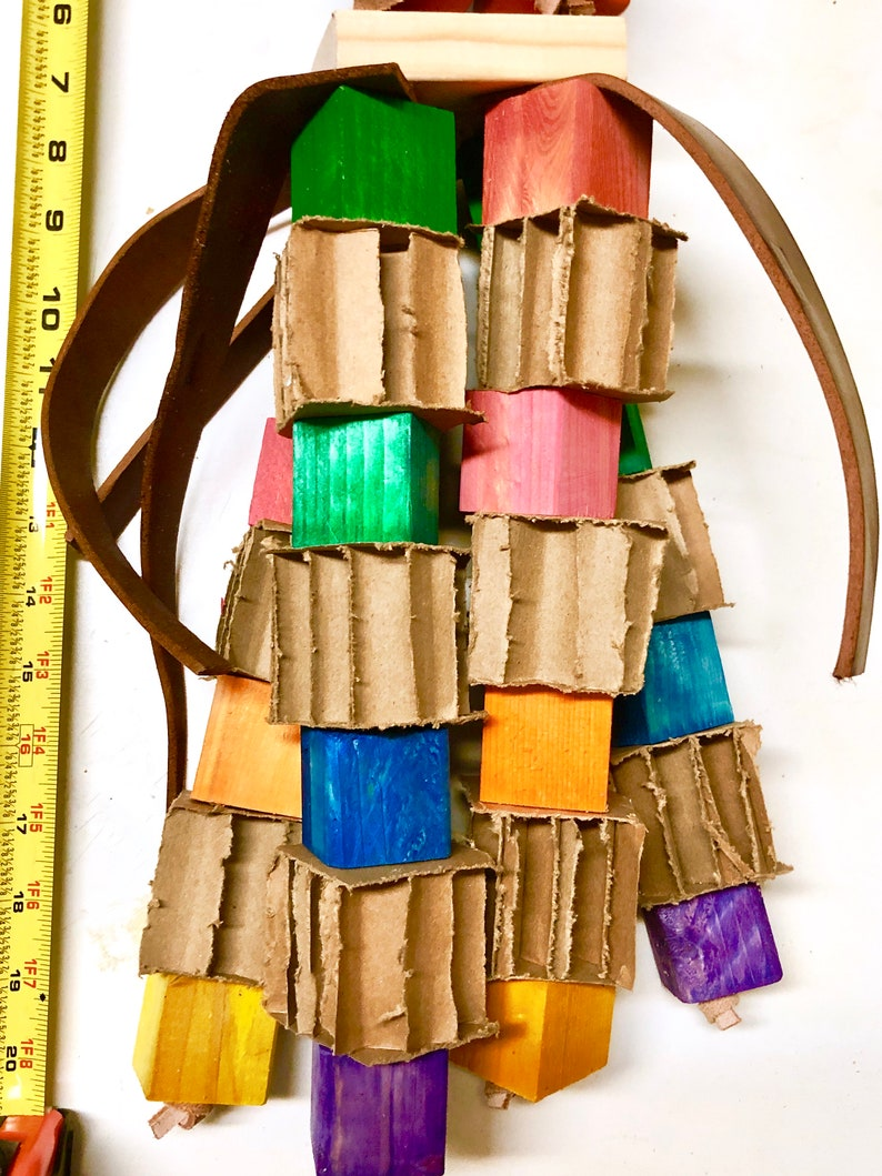 Pine Wood with Cardboard blocks Parrot toy