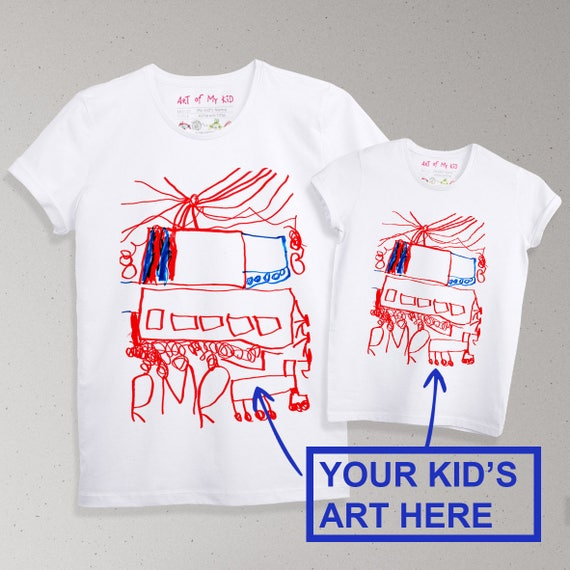 d6446e1bc Father Son Matching Kids Art Print Custom T-shirt Dad And Son   Etsy