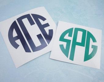Circle Monogram | Vinyl Monogram | Tumbler Decal | Yeti Decal | RTIC Decal | Monogram Decal | Laptop, Tablet, Car Decal| Custom Vinyl |