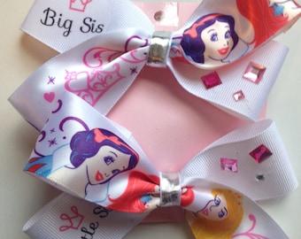 Disney princess big sis little sis matching tiara hairbow set