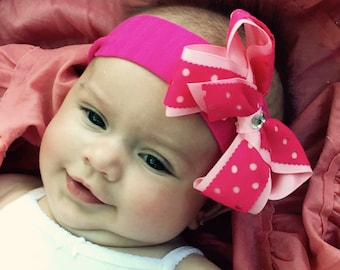 Pink baby headband with rhinestones