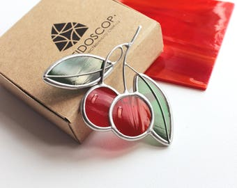 Stained-glass brooch Cherry,Cherry,Stained-glass decoration,Glass jewelry,Handmade jewelry,Gifts for any occasion,Gift for her,Stained Glass