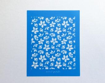 Reusable Mini Silkscreen Stencil for Polymer Clay- Blossom Pattern