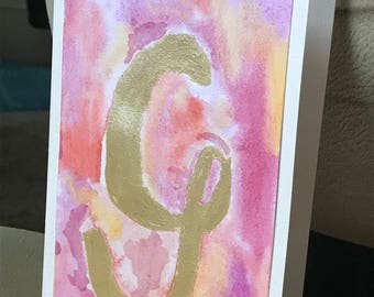 Abstract Gold Monogram Card