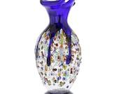 GlassOfVenice Murano Glass Millefiori Art Glass Spiky Amphora Vase - Blue