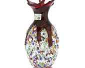 GlassOfVenice Murano Glass Millefiori Art Glass Spiky Amphora Vase - Red
