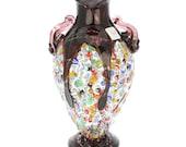 GlassOfVenice Murano Glass Millefiori Amphora Vase - Silver Purple