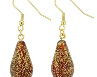 Genuine Ca d/'Oro Murano Gold and Black Square Glass Beads with Vermeil Beads on Marquise Ear Wires 3 long Dangling Earrings