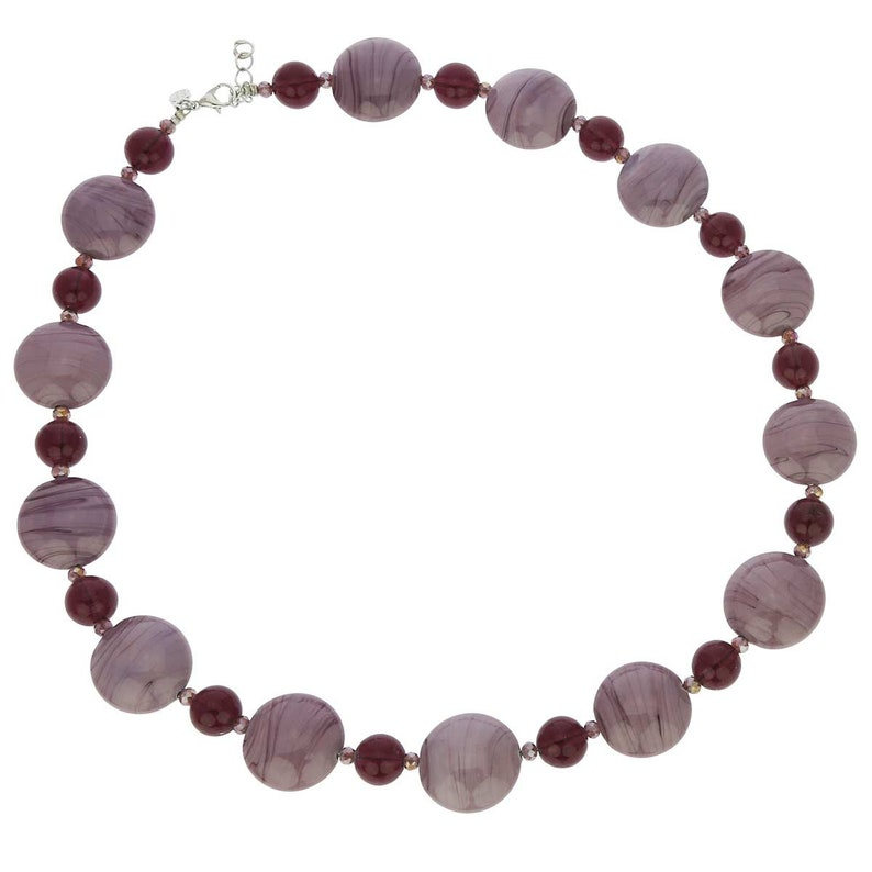 GlassOfVenice Murano Glass Wonders Necklace Purple Cream