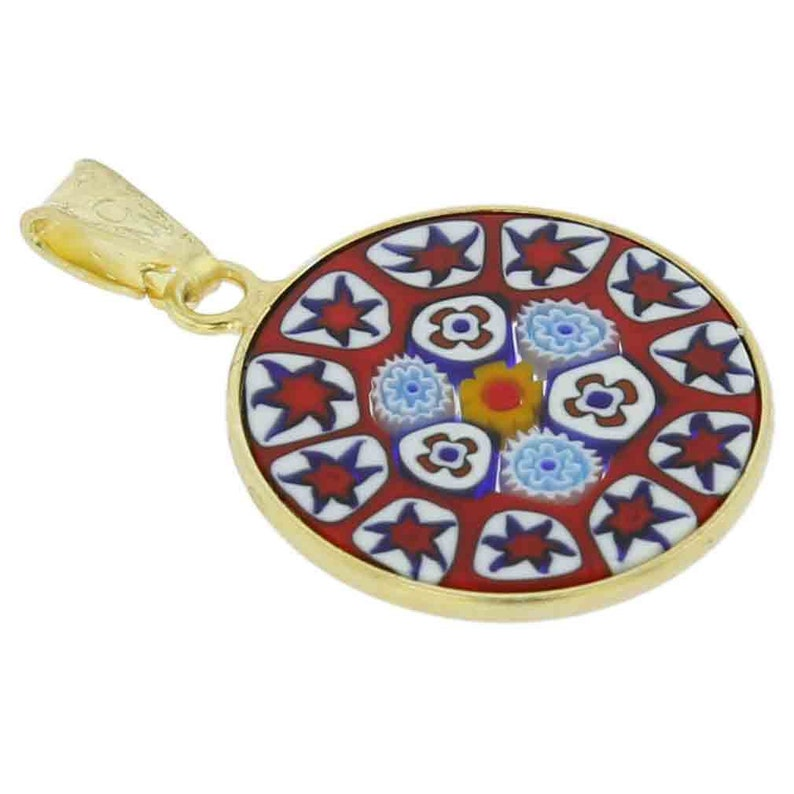 GlassOfVenice Murano Glass Millefiori Pendant in Gold-Plated Frame 34