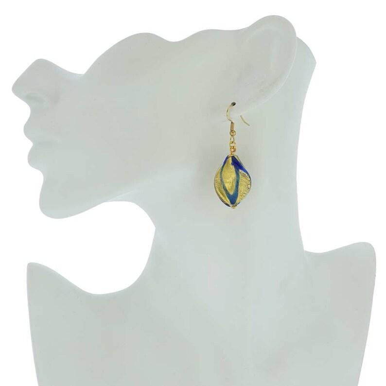 GlassOfVenice Murano Glass Royal Blue Spiral Earrings