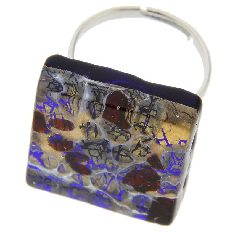 Square With Adjustable Band GlassOfVenice Murano Glass Venetian Reflections Ring
