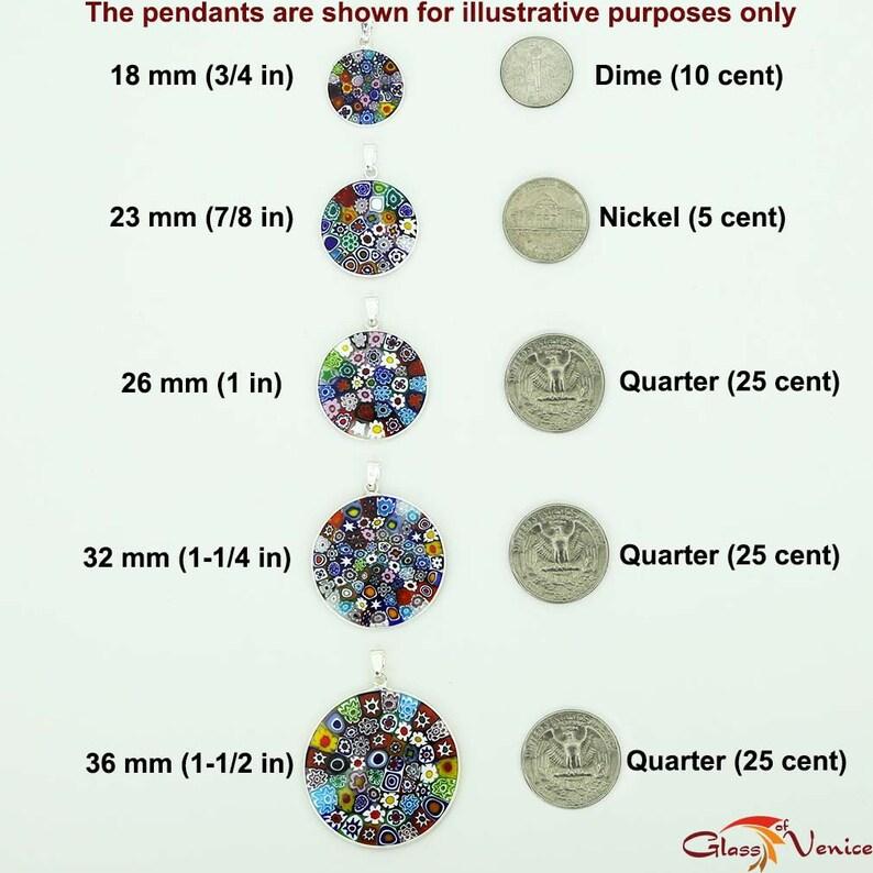 GlassOfVenice Murano Glass Millefiori Pendant in Silver Frame 1-12