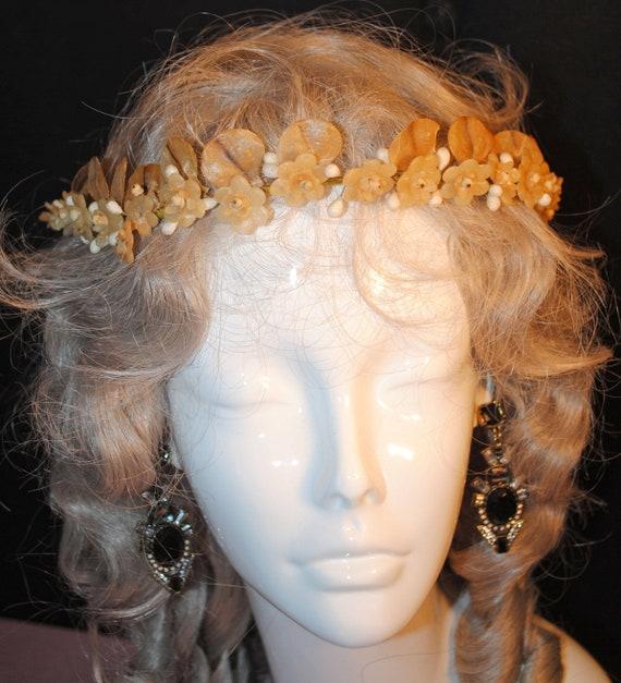 Antique Wedding Wax Crown Tiara, 1920s Orange Blos