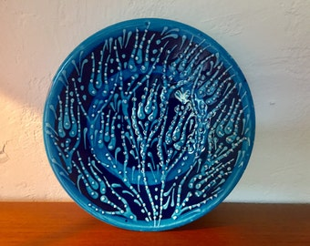 plate in blue*decorative wall plate*Vintage*Wandteller*Teller in blau