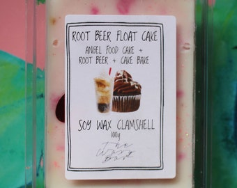 Root Beer Float Cake - Root Beer, Angel Food Cake, Cake Bake Scented Soy Wax Clamshell Melts - The Waxy Bar