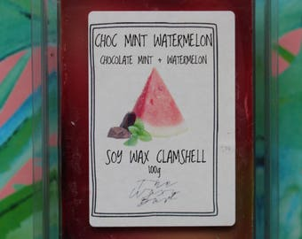 Choc Mint Watermelon | Mint Chocolate Watermelon Scented Soy Wax Clamshell Melts | The Waxy Bar