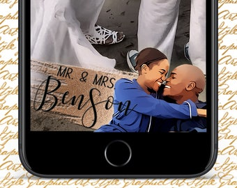 Personalised Cartoon Geofilter Wedding Snapchat Mr. and Mrs. Snapchat Mr & Mrs Geofilter Cartoon Wedding Gift Wedding Geotag Custom Snapchat