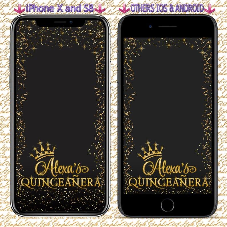 Quinceanera Filter Custom Geofilter Snapchat Quinceanera Geo Filter 15th Birthday Geotag Quinceanera Gold Geofilter Sweet 16 Filter Snapchat