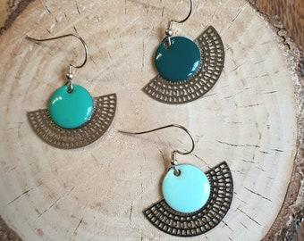 "Earrings ""Smarties"" Pine Green or Mint green or sea green"