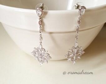 Art deco inspired drop earrings, crystal teardrop earrings, wedding earrings, CZ bridal earrings, wedding gifts, earrings, bridal