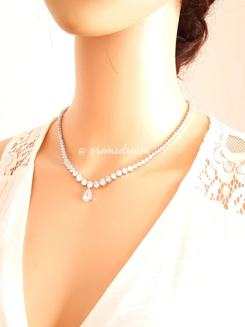 bridesmaid gifts CZ backdrop necklace cubic zirconia necklace bridal necklace Bridal jewellery wedding jewelry