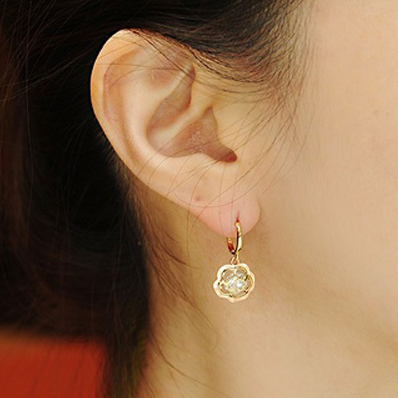 14k Solid Yellow/&Rose Gold Hoop Earrings Rose 6862 Charming Rose Design Lovely