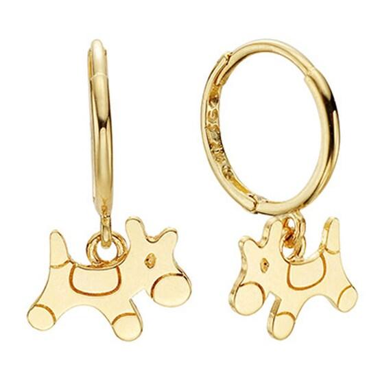 14k Pony Earrings in 14k Yellow Gold