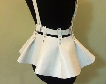 Skirt peplum,leather skirt peplum,vegan leather skirt, leather body harness