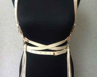 Leather harness with tassels ,vegan leather harness, Trendy accessory,faux leather suspenders