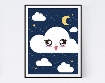 Displays cloud kawai blue night for child's bedroom - immediate download