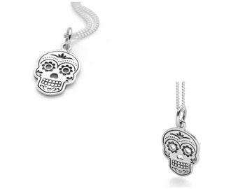 Kasey * Sugar Skull Necklace * Sterling Silver * Day of the Dead Pendant * Rockabilly Jewelry * Skull Jewelry * Silver Skull * 50's Skull